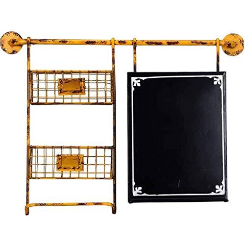Allamp El Tablero de Mensaje Creativo del Estante, Pizarra Industrial Creativo del almacenaje Decorativo Rack, 76,5 * 10 * 56cm (Color: Amarillo)