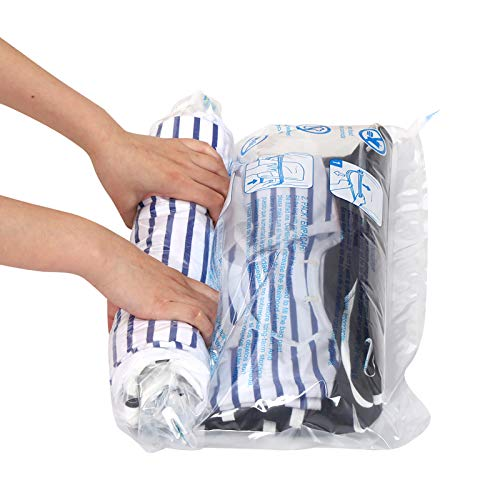 12 Travel Compression Bags, Hibag 12-Pack Roll-Up Space Saver Storage Bags for Travel, Suitcase Size (12-Travel)
