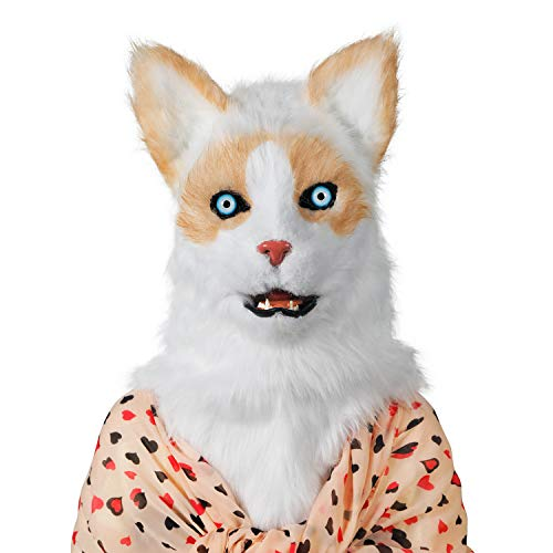 ifkoo Realistic Mouth Mover Cat Mask for Halloween Party Costume Plush Moving Mouth Jaw Fursuit Head Animal Mask Adult (Cat) White
