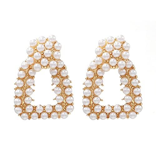 Pendientes de perlas de aleación de moda y pendientes de perlas versátiles