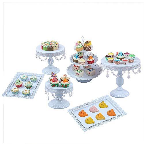Generic, 6 alzata per torte in stile vintage, rotonda, in metallo, con perline di cristallo, 3 piani, per torta nuziale, decorazione per feste, matrimoni, colore bianco