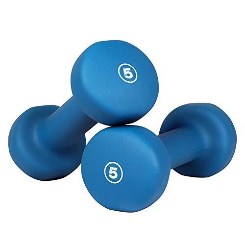 Shocly Hanteln Neopren Dumbbells Rutschsicher Kurzhanteln Unisex Heimfitnessgeräte Kurzhantel für Gymnastik Aerobic Pilates 1lbs - 15lbs,blue/2x5lbs