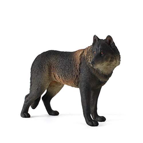 Gtytrxi Wolf beeldje speelgoed, hout wolf wandelen speelgoed figuur simulatie wilde dieren model speelgoed dierentuin actie wolf figuren milieuvriendelijke plastic mini-decoratie voor kinderen educatie collectibles