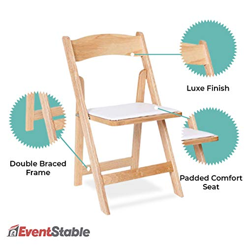 EventStable Titan Series Wood Folding Chair - Natural Indoor/Outdoor Lightweight Folding Chair - Vinyl Padded Folding Chair for Weddings Events - 4-Pack