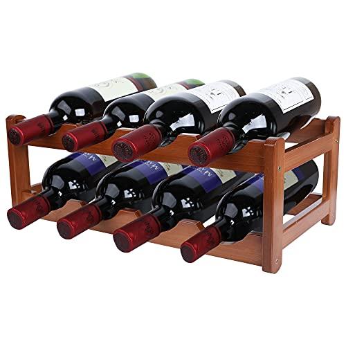 Gimars Portabottiglie Vino in Legno Naturale Scaffale Cantinetta da Tavolo Supporto per Bottiglie Vino Champagne Spumante (marrone--8 bottiglie)