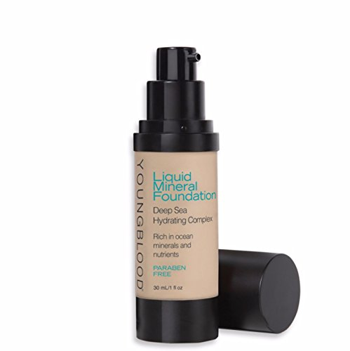 Youngblood Clean Luxury Cosmetics Liquid Mineral Foundation, Shell   Dewy Mineral Lightweight Full Coverage Makeup for Dry Skin Poreless Flawless Tinted Glow   Vegan, Cruelty-Free, Gluten-Free