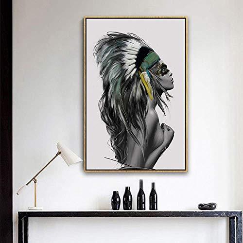 Yeeseu Pared moderna europea figura abstracta arte belleza india pintura decorativa Marco del oro de la pintura mural 40 * 60cm casa porche micro Hotel Living HD aerosol vida feliz Calcomanías de arte