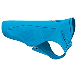 Blue Ruffwear Sun Shower Dog Raincoat.