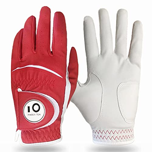 FINGER TEN Golf Gloves Men Left Hand Right Leather with Ball Marker Color Pack, Mens Golf Glove All Weather Grip, Fit Size Small Medium ML Large XL (Red-1 Pack, Small, Worn on Left Hand)