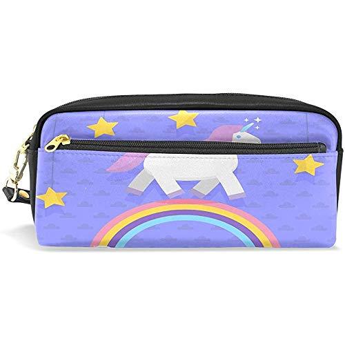 Unciorn Rainbow Leather Étui à crayons Étui à cosmétiques Sac à maquillage pour trousse de maquillage pour Garçon Fille
