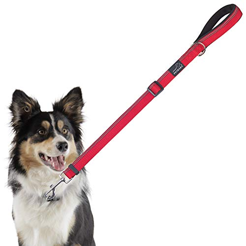 PETBABA Short Dog Leash, 3ft Adjustable Lead with Soft Padded Handle to Control Pet in Traffic, Reflective Safety at Night Walk, Suitable Training Your Pet in Red