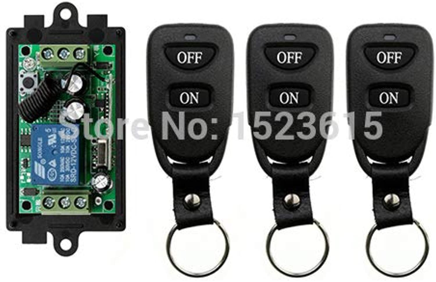 Latest DC12V 1CH 10A Remote Control Light Switch teleswitch Relay Output Radio Receiver Module and 3 pcs Belt Buckle Transmitter