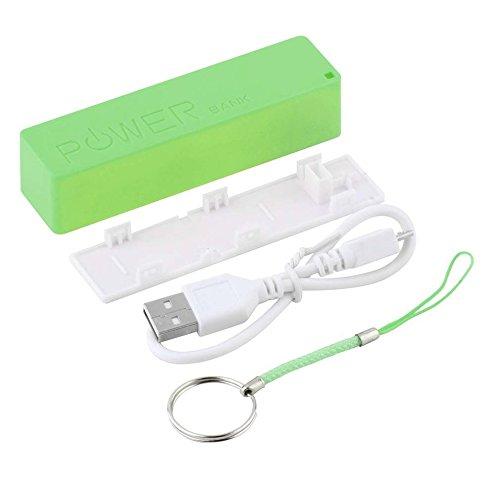 Tree-es-Life Adaptadores portátiles de CA/CC Caja de energía móvil Caja USB 18650 Cubierta de batería Llavero para iPhone para Samsung MP3 Verde