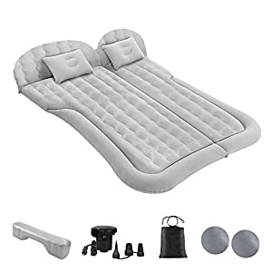 Car Bed Mattress SUV Air Bed Mattress Inflatable Bed for Camping Sleeping Travel, Portable Road Trip Universal Blow Up Mattress with 2 Air Pillow Electric Air Pump and Filler for Back Seat