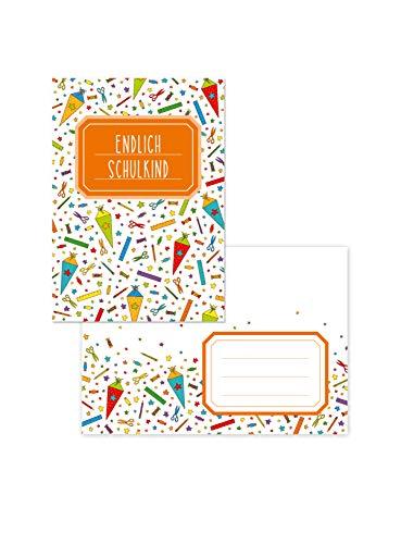 Edition SF Endlich Schulkind: 10 farbenfrohe Einladungskarten zur Einschulung (DIN A6) mit entsprechenden Briefumschlägen