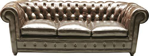 Kare Design Sofa Oxford 3-Sitzer, Echtledersofa, Chesterfield Sofa, Dreisitzer Ledersofa Lounge, Vintage Couch Leder Chesterfield, (H/B/T) 76x220x92cm
