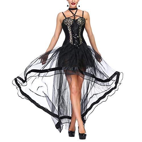 AmyGline Kleider Damen Organza Korsagekleid Spitzenrock+Korsett Zweiteiliger Steampunk Gothic Vintage Kleid Spitzenkleid Tüllrock Brautkleid Halloween Kostüm Cosplay