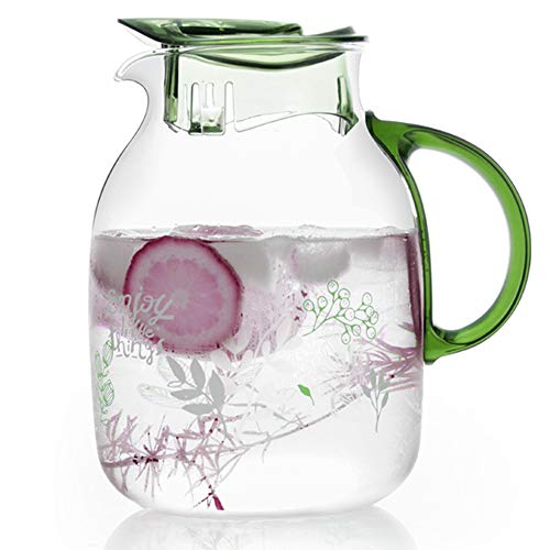limonada y bebidas brillantes. leche jarra de cristal de borosilicato para infusionar agua zumo t/é helado Hellohouse Teapots Jarra cl/ásica de jarra de agua de 1,5 l con tapa de acero inoxidable