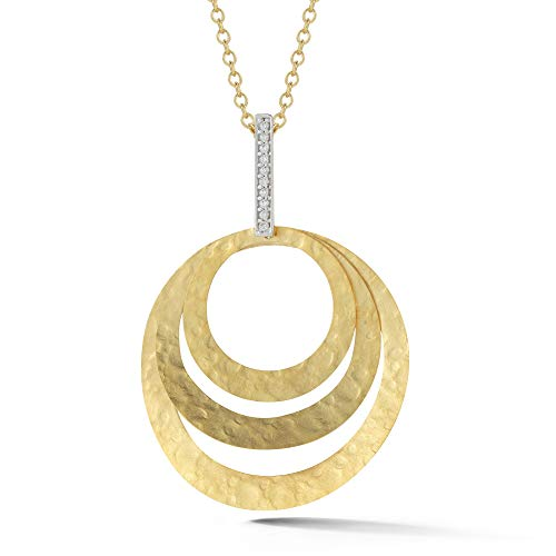 14K Yellow Gold 0.06ct TDW Diamond Accent Concentric Circle Pendant Necklace (0.06 Ct Tdw Diamond)