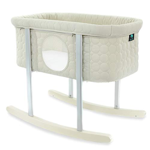 Baby Bassinet Cradle Includes Gentle Rocking Feature, Great for Newborns and Infants Safe Mattress Includes wheels for Easy Movement High End Washable Fabric Lightweight & Transportable (Off White)
