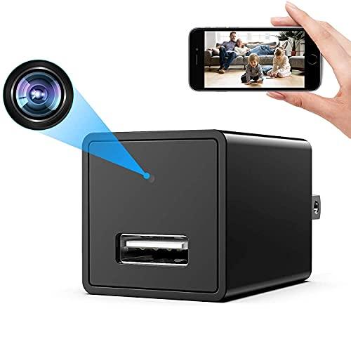 GEQWE Cargador De Teléfono USB con Cámara Espía, Cámara Oculta HD De 1080P, Cargador USB con Enchufe De Pared Inalámbrico WiFi, Niños, Bebés, Cámara De Monitoreo De Mascotas
