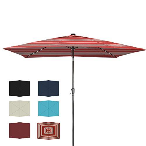 Ginelite 9.5Ft x 6.5Ft Rectangular Patio Umbrella Solar LED Umbrella Outdoor Umbrella Garden Market Umbrella Table Umbrella, Olefin Non-Fading Canopy, Tilt and Crank, Anti-Break Pole-Red/White Striped