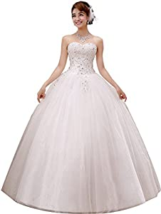 obqoo 2019 Gorgeous Sweetheart Beaded Lace Appliqued Ball Gown Wedding Dress Ivory Pure White