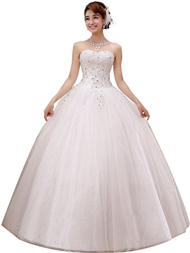 obqoo 2018 Prachtige Sweetheart Kralen Kant Appliqued Ball Gown Bruidsjurk Wit