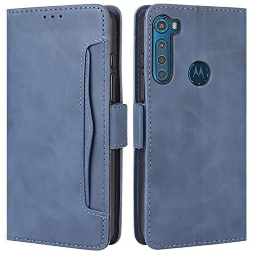 HualuBro Handyhülle für Motorola One Fusion Plus Hülle Leder, Flip Hülle Cover Stoßfest Klapphülle Handytasche Schutzhülle für Motorola Moto One Fusion+ Plus Tasche (Blau)