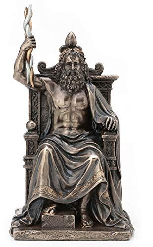 8 Inch Zeus Statue Holding Thunderbolt on Throne Greek God Mythology Sculpture