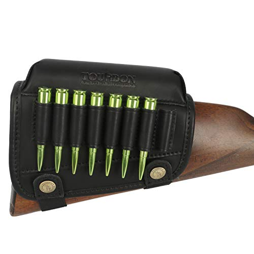 TOURBON Hunting Shooting Buttstock Ammo Cartridge Holder Rifle Cheek Rest Riser Pad (Black Genuine Leather for Right Handed)