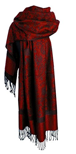 Nella-Mode Nella-Mode Edler & Eleganter Schal, Stola; - Florales & Paisley-Muster, Rot