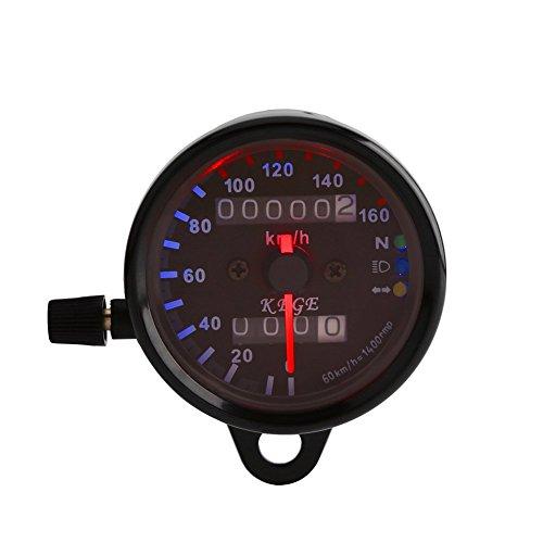 VGEBY Odómetro Digital Dual de Motocicletas Universal Tacómetro Dual de Motos Indicador de Velocidad con LED Luz de Señal ( Color : Negro )
