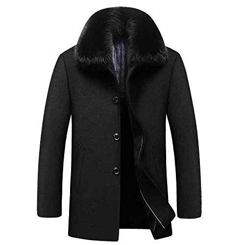 CRWOOL Homme l'hiver Manteau Hiver Long Trench Coat Slim Outerwear pour Les Voyages de ski et de Marche en Automne et en Hiver M-4XL (crct011),Black,2XL