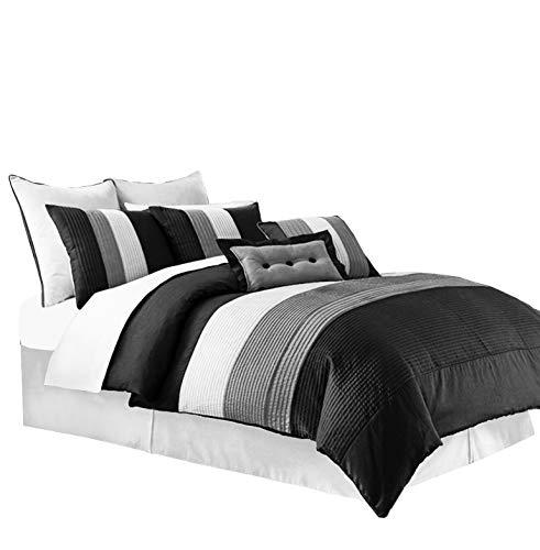 Chezmoi Collection 8-Piece Luxury Striped Comforter Set (Black/White/Grey, Queen)