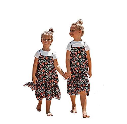 Nensiche Robes De Fête D'été Mère Fille Fille Assorties De La Famille De Filles Robe De Midi Floral (Daughter, Child 6-7T)