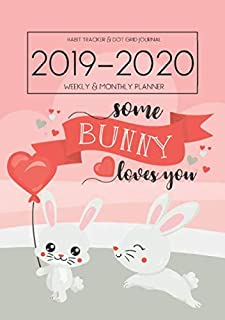 A5 Planner - 2019-2020 Planner Calendar - Rabbit Bunny Gratitude 15 Months Daily Weekly Monthly Diary With Dot Grid Notebook & Habits Tracker: Journal ... With Mood Tracker; From Oct 2019 - Dec 2020