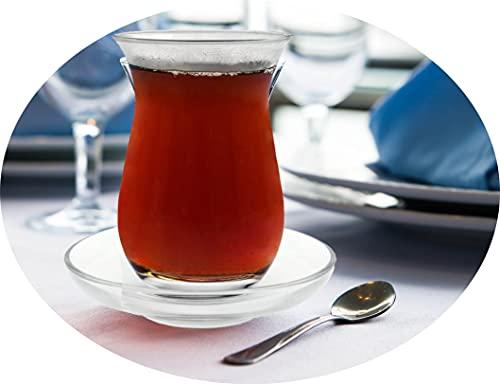 Topkapi – 18-TLG Türkisches Tee-Set Galata-Sultan, 6 Teegläser, 6 Untersetzer, 6 Teelöffel, Komplett-Set, Transparent…