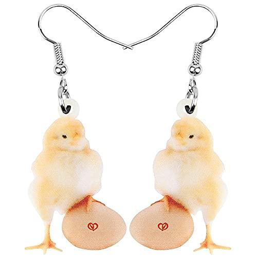 Pendientes para niñas, QWEA Pendientes de polluelo de huevo de acrílico Colgante de columpio con estampado de animales grandes Accesorios de regalo de moda para niños y niñas