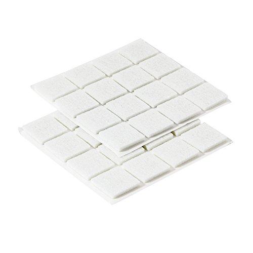 Westmark 32 Filz-/Bodenschutz-/Möbelgleiter, Selbstklebend, Quadratisch: 19 x 19 mm, Stärke: 2 mm, Filz-Stoff, Weiß, 52032280