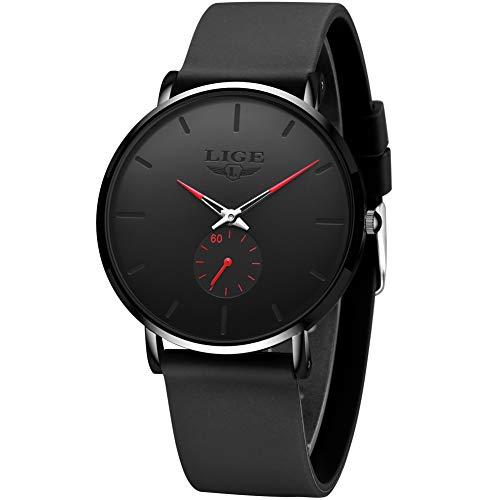 LIGE Herren Uhren Unisex Damen Wasserdicht Mode Minimalistische Analoger Quarz Armbanduhr Männer Schwarz Ultradünne Silikon Klassische Flach Armbanduhren