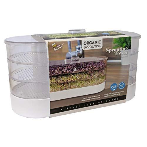 BIO Sprossenturm Anzuchtset - Sprossenturm mit Deckel, 3 Keimschalen, 3 Tüten Sprossen-Samen, 1 Deckel und Wasserauffangschale - Leicht zu reinigen - Keimschalen für Sprossen - Sprouting