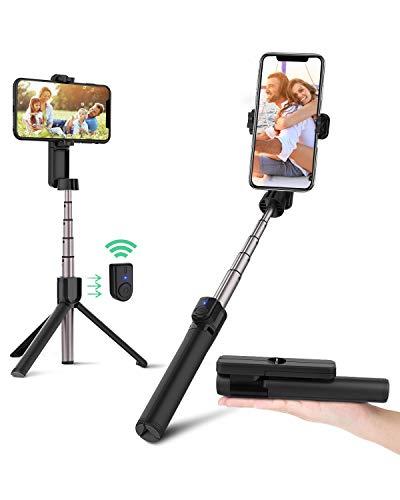 BlitzWolf Bastone Selfie Bluetooth Treppiede, Mini Asta per Selfie Senza Fili, 86,4cm Selfie Stick Monopiede Allungabile per iPhone 11 PRO   11   XS Max X   8 Plus   8 7 6, Galaxy S10, Huawei