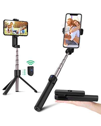 mejores Palos Selfie BlitzWolf Palo Selfie Trípode con Control Remoto Bluetooth, 86.4cm Selfie Stick Extensible para iPhone 11 Pro/11/XS MAX/X/8 Plus/8/7 Plus/7/6/5, Galaxy S10, Huawei, Xiaomi y Más