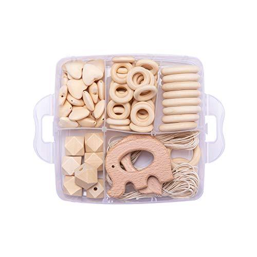 Mamimami Home 1PC Baby Teether Holz Diy Tier Rassel organischen Teether Dschungel Spielzeug Holz Waldorf Spielzeug Holz Teether Halskette/Armband DIY Zubehör