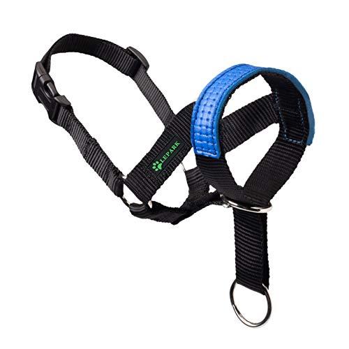 ILEPARK Cuello De Cabeza para Perros con Decoración de Cuero, Cabestro para Perros, Regolabile E Facilmente Controllabile (S,Azul)