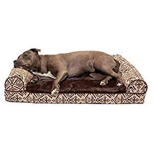 Furhaven Pet Dog Bed – Orthopedic Plush Kilim Southwest Home Decor Traditional Sofa-Style Living Room Couch Pet Bed with Removable Cover for Dogs and Cats, Desert Brown, Large