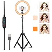 """Villsure LED Ring Light, 10"""" Selfie Ring Light with Tripod Stand & Phone Holder for Live Stream/Make Up/YouTube, Dimmable 3 Light Modes 3000-6000 K Color Temperature, Compatible with iPhone/Android"""