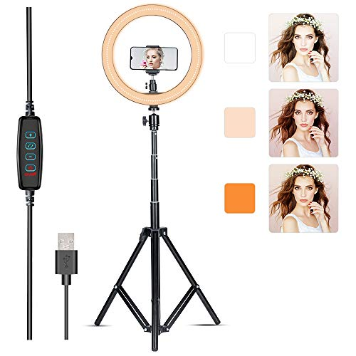 "Villsure LED Ring Light, 10"" Selfie Ring Light with Tripod Stand & Phone Holder for Live Stream/Make Up/YouTube, Dimmable 3 Light Modes 3000-6000 K Color Temperature, Compatible with iPhone/Android"