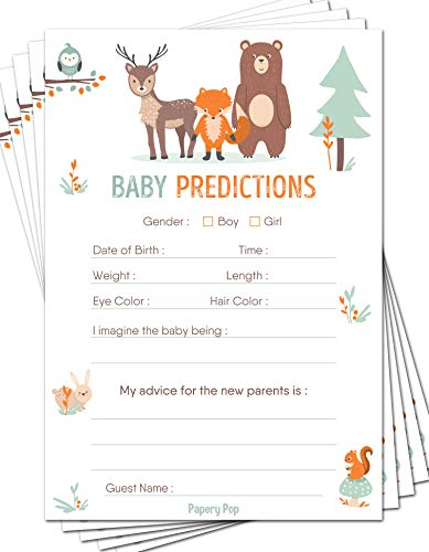 Baby Predictions and Advice Cards (Pack of 50) - Baby Shower Games for Boys or Girls - Gender Neutral - Party Activities Ideas Supplies - Woodland